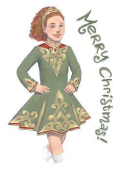 Irish dancing Christmas card